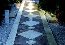 格調高い石貼りの参道のイメージ